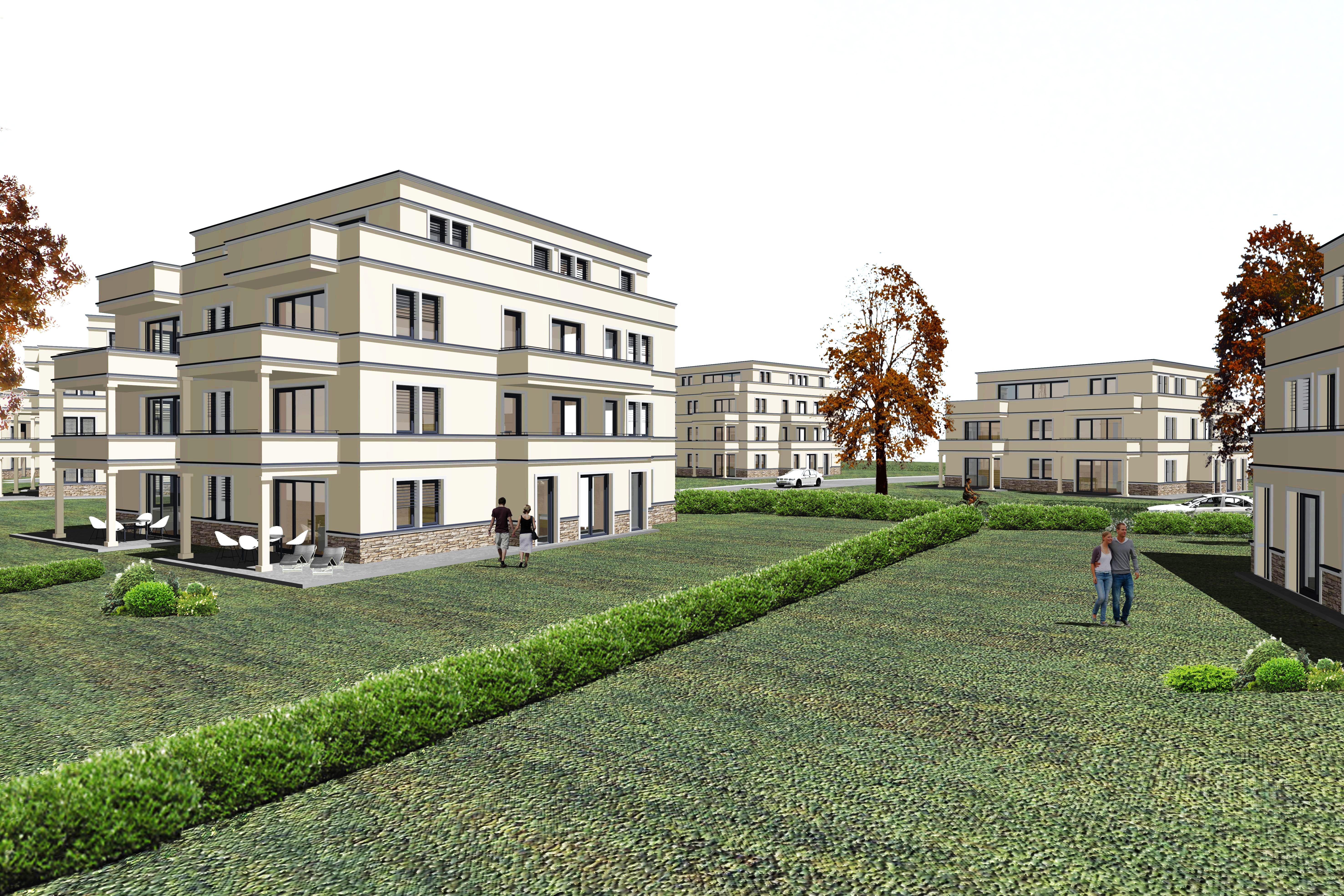 Wohnanlage Potsdam Jungfernsee - Vorentwurfs-Perspektive